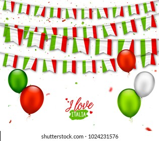 Colorful flags of Italy with confetti, balloons. Festive garlands of pennant, bunting flags. Italian Republic Holiday. Vector background for national celebration party, independence day, travel banner