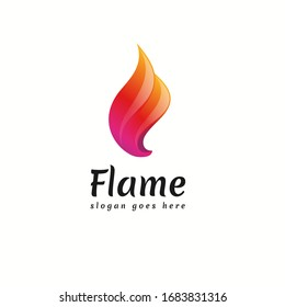 Colorful Flame Logo Vector Icon Template. 3D Fire Logo, Origami Fire Logo Symbol Icon Design