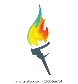 Colorful Flaming Torch Icon Vector