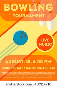 Colorful flat bowling tournament flyer or poster, vector illustration. Can be used for ad, promotion. Layout template in A4 size.