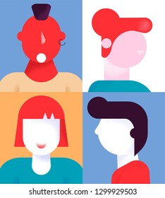 Colorful flat cartoon characters geometric style people avatars set,web online social network concept.Modern geometry character head faces portraits for media design,web page profile,forum,chat use