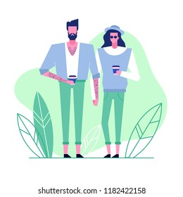 Colorful flat characters,subculture music genre apparel style concept.Flat people,man and women in hipster alternative styles clothes outfit on green white background