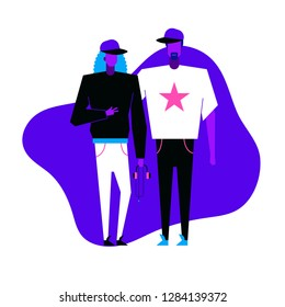 Colorful flat characters,subculture music genre apparel style concept.Flat people,man and women in hip hop pop styles clothes outfit on blue white background  in trendy neon colours, disco style