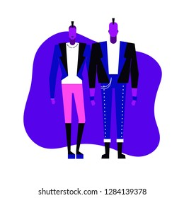 Colorful flat characters,subculture music genre apparel style concept.Flat people,man and women in punk rock styles clothes outfit on blue white background  in trendy neon colours, disco style