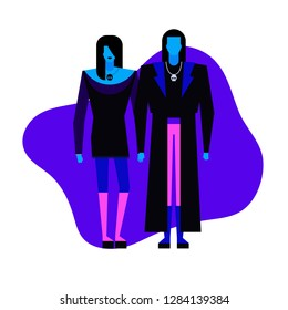 Colorful flat characters,subculture music genre apparel style concept.Flat people,man and women in goth rock styles clothes outfit on blue white background  in trendy neon colours, disco style