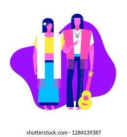 Colorful flat characters,subculture music genre apparel style concept.Flat people,man and women in hippie rock styles clothes outfit on blue white background  in trendy neon colours, disco style