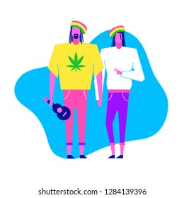 Colorful flat characters,subculture music genre apparel style concept.Flat people,man and women in rasta styles clothes outfit on blue white background  in trendy neon colours, disco style