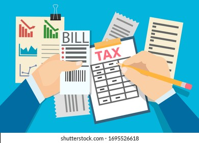 Colorful flat design of businessman accounting taxes and bill payments writing on clipboard and filing taxes on blue background