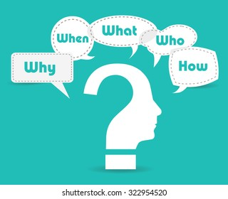 Colorful flat design speech paper and question bubbles with text why, where, who, when, how, what.