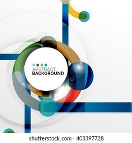 Colorful flat design vector abstract background. Swirl and circle shaped lines on white. Geometrical futuristic template with light effects