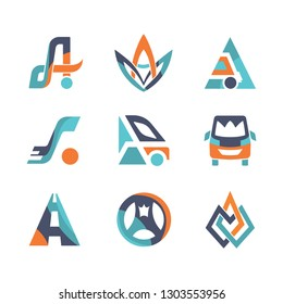 Colorful flat design Vector transport logo templates set Business logistics abstract bus icon symbols for identity design