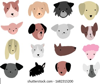 Colorful flat dog head vectors