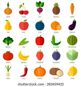 Colorful flat fruits and vegetables icons set. Template for cooking, restaurant menu and vegetarian food