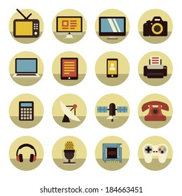 Colorful flat icons of electronic multimedia and telecommunication devices