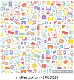 colorful flat icons set - modern, new technology, multimedia, smart devices design elements & symbols