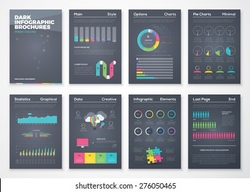 Colorful flat infographic brochures with black background. Data visualization and statistic elements for print, website, corporate reports and graphic projects.