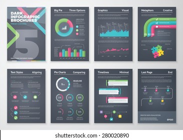 Colorful and flat infographic brochures with black background. Data visualization and statistic elements for print, website, corporate reports and graphic projects.