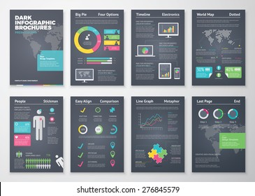 Colorful flat infographic brochures with dark background. Data visualization and statistic elements for print, website, corporate reports and graphic projects.