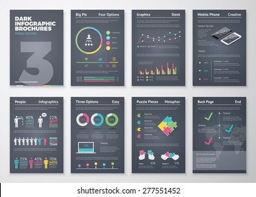 Colorful flat infographic templates on dark background. Big set of modern infographic vector elements for web, print, magazine, flyer, brochure, media, marketing and advertising concepts.