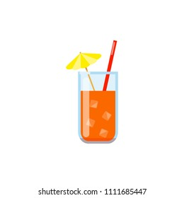 Colorful flat juice with ice and straw isolated on white background.