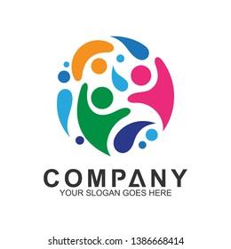colorful flat kids logo design