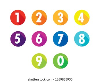 Colorful Flat Number Icons Long Shadow  From Zero to Nine , Number Flat  Design, Number Set vector illustration .