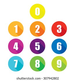 Colorful Flat Number Icons With Long Shadow