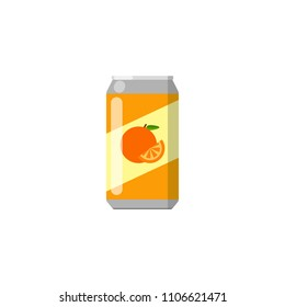 Colorful flat orange lemonade in can isolated on white background.