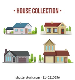 Colorful Flat Residential Houses. Vector illustration. Isolated objects