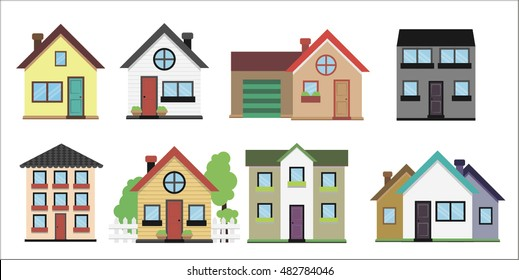 Colorful Flat Residential Houses. VECTOR ILLUSTRATION