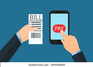 Colorful flat style of person using smartphone and receipt to pay bills with app on blue background