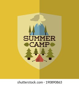 Colorful Flat Summer Holiday and Travel themed Summer Camp Background Illustration