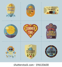 Colorful Flat Summer Holiday and Travel themed Emblems and Labels