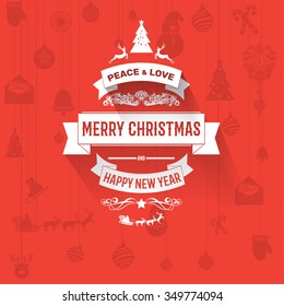 Colorful flat trendy Christmas card and New Year greetings vector illustration, with flat design elements, shadows for  wallpaper, magazine, wallpaper. Happy new Year .Red background