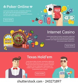 Colorful flat vector banners set. Quality design illustrations, elements and concept. Poker online. Internet casino. Texas hold'em.