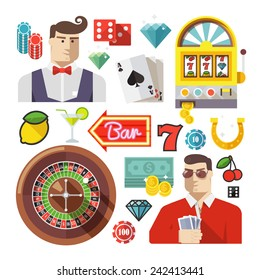Colorful flat vector icons set for web and mobile apps. Quality design illustrations, elements and concept. Gambling icons, casino icons, money icons, poker icons.