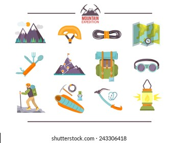 Colorful flat vector icons set . Quality design illustrations, elements and concept. Climbing icons. Set #1