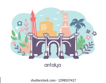 Colorful flat vector illustration Antalya, Turkey. Main seesights: Hadrian's gate, the clock tower, minaret, the fortress with doodle flowers, plants, leaves on the blue background. Travel conception.