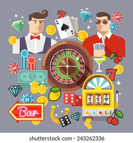 Colorful flat vector illustration concept. Quality flat design. Gambling icons, casino icons, money icons, poker icons.