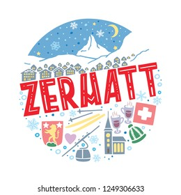 Colorful flat vector illustration of Zermatt. Round winter pattern with the main symbols of Zermatt with isolated elements. Can be used as a sticker, print for t shirts, posters, cards, articles