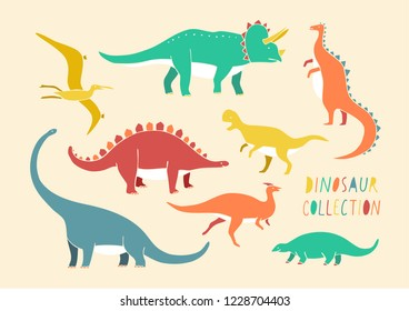 Colorful flat vector isolated illustration of dinosaur set. Cartoon flat kid style. Animals of jurassic era, tyrannosaurus, pterosaur, triceratops, diplodocus, brachiosaurus set