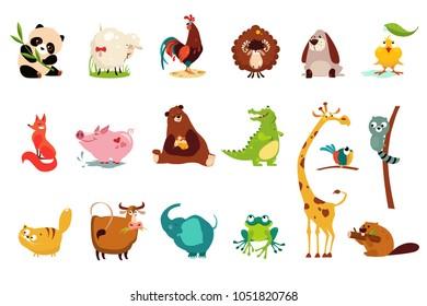 Красочный плоский векторный набор смешных различных животных. Панда, овцы, баран, лягушка, утенок, петух, лиса, свинья, медведь, крокодил, жираф, кошка, корова, слон, лягушка, Бобр, енот, попугай