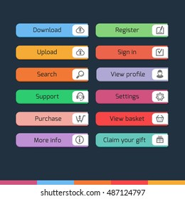 Colorful flat web buttons with icons on dark background