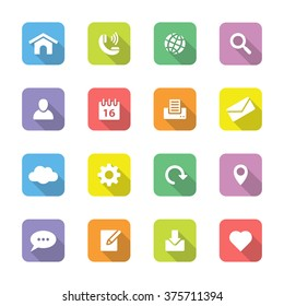 colorful flat web and technology icon set 1 on rounded rectangle with long shadow for web design, user interface (UI), infographic and mobile application (apps)
