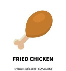 Colorful flat/cartoon design fried chiken icon. Vector illustration isolated on a white background.