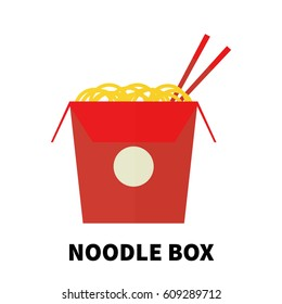 Colorful flat/cartoon design noodle box icon. Vector illustration isolated on a white background.