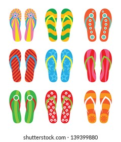 Colorful flip flops set. Illustration on white background.