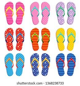 Colorful flip flops in various patterns