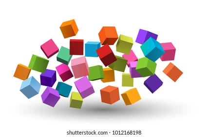 Colorful floating cubes on a white background, eps10 vector
