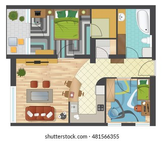 Colorful floor plan of an apartment.